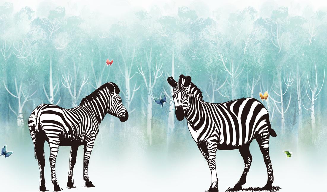 平构抽象手绘动物